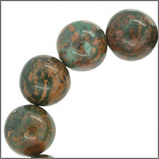 """17 Natural African Green Opal Round Beads 12mm  8.2"""" #76100"""
