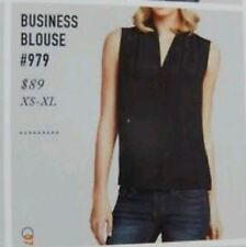 CAbi Size M Sheer Silk Blend Business Blouse Black V Neck NWT $89 #979