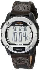 Timex Hombres Expedición Digital Gato Negro Tono Resina Reloj Piel Marrón t49948