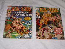 Bronze Age KA-ZAR lot of 2: #1(X-Men), #2 (Daredevil), average condition VF- 7.5