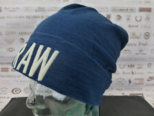 G-STAR RAW Jersey Beanie Turn-Up RAW Aged Blue Cap Thin Cotton Skull Hat BNWT