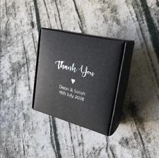 20x Custom Black Paper Box Silver Foil Wedding Favour Box Personalised Gift Box