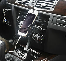 Universal Dual USB Car Charger Holder Mount With Cigarette Lighter Chargers