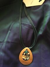 Sale!  Christopher & Banks blue-green glass PENDANT NECKLACE gold tone. NWT!
