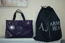 Womens Armani Jeans Large Tote Bag Purple PVC with dustbag