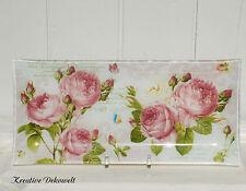 Servierplatte Kuchenplatte Nostalgie Romantik Rosen Postcard Glas Shabby 36x17cm