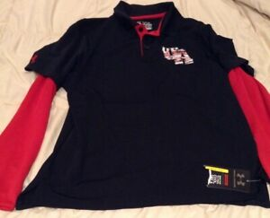 UNDER ARMOUR BOYS YXL LOOSE-M- Black& Red LONG SLEEVE HEAT GEAR SHIRT-New w/Tag