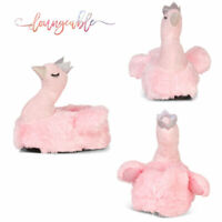 Loungeable Womens Pink Swan Novelty 3D Bird Slippers Plush Slip On Indoor Shoe