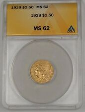 1929 US Indian Head Quarter Eagle $2.50 Gold Coin ANACS MS-62 A