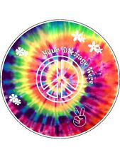 """Novelty Personalised Tie Dye Peace 7.5"""" Edible Wafer Paper Cake Topper"""