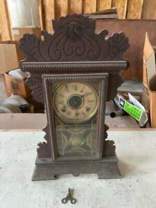 Rare 1800's Antique William L Gilbert Lake No 1 w/ Key Mantle Clock