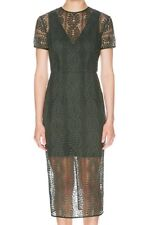 LOVER lace Vine V neck sheath dress Moss green size 8 (NWT RRP $550)