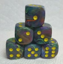 Dice - 16mm Chessex ~Festive Rio w/Yellow Pips~ 6 Each - Fiesta, Party!