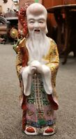 Circa 1920 Chinese Famille Rose Porcelain Shou Lao Statue (Early Republic)