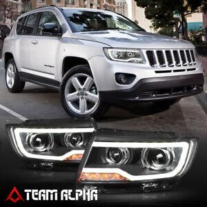 Fits 2011-2016 Jeep Compass{LED BAR DRL}Black Dual Projector Headlight Headlamp
