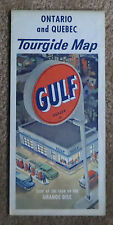 1950 Ontario Quebec Highway Road Map Gulf Oil Chevy Pontiac Ford Olds Canada