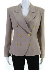 Christian Dior Womens Gold Tone Button Double Breasted Blazer Tan Size 8