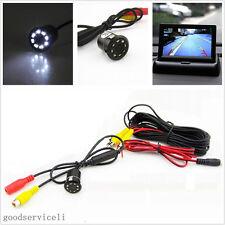 Waterproof 8LED Car Reverse Backup Parking Camera & Foldable Monitor Display Kit