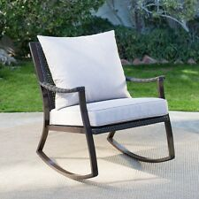 Wicker Outdoor Rocking Chair All Weather Resin Porch Deck Patio Seat Plush Cushi