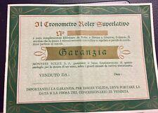 Rolex ORIGINAL 1962 BLANK Guarantee paper cronometry -very rare-