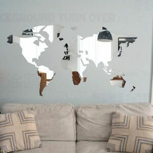 DIY Mirror Map Wall Sticker room Decoration Bedroom Living room Self adhesive