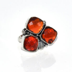Garnet Quartz Lovely Gemstone Christmas Gifted Jewelry Ring 8'' P058