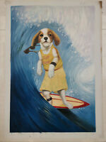 Hand made Modern abstract Oil Painting on Canvas Surf dogs no frame #B180