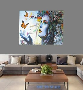 "framed Canvas Art Print Urban Butterfly Girl Princess Street Painting  30"""