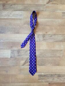 CHARVET made in France all silk neck tie purple polka dot