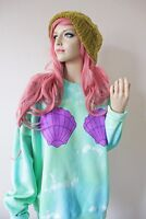 Little Mermaid Ariel Disney Theme Shell 90s Long Oversized Grunge Tie Dye Jumper