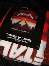 NWT Metallica Master Of Puppets Grave Stone Cross Metal Band Plush Throw Blanket