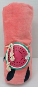 "Pottery Barn Kids Watermelon Round Vibrant Beach Towel 52"" Diam Pink #9832"