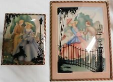 Antique Pair Reverse Painted Silhouette Victorian Convex Bubble Glass Pictures