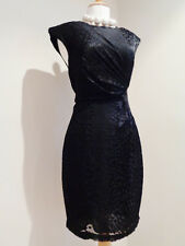 WHISTLES SILK DEVORE BLACK BACK ZIP FITTED  DRESS SZ UK 10