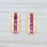 2ctw Ruby Diamond Half-Hoop Earrings 14k Yellow Gold Pierced Omega Backs