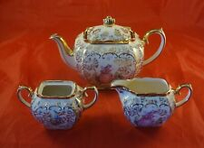 Sadler Cube Teapot with Cream and Sugar Pinkie Lady