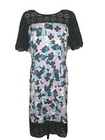 Review Floral Sleeveless Sheath Lace Trim Office Cocktail Dress / Size 14