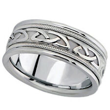 Hand Made Celtic Wedding Ring Band 14k White Gold 8mm