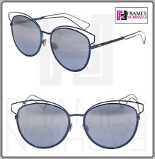 ce76d4c4799 CHRISTIAN DIOR SIDERAL 2 Navy Blue Silver Mirrored Metal Oversized  Sunglasses