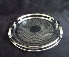Vintage art deco Ranleigh polished round silver drinks serving cocktail tray