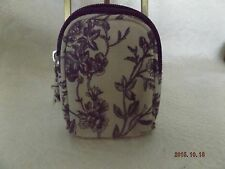SMALL CREAM AND PURPLE ZIPPERED POUCH