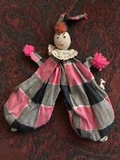 Vintage 1930s Creepy Clown Stuffed Bean Bag Lord & Taylor Fifth Ave NY Harlequin