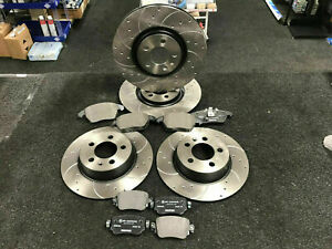 FOR AUDI A4, A4 Allroad, A5 FRONT REAR DRILLED GROOVED BRAKE DISCS AND PADS SET
