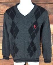 Versace Jeans Couture~M~100% Wool Argyle V-Neck Sweater Black Gray~VJC logo