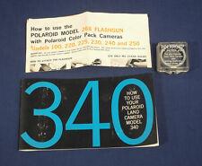Vintage Polaroid Land Camera Model 340 Instant Camera Manual + UV Filter #585