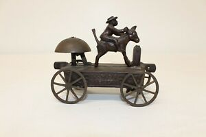 Antique Cast Iron Toy WHOA DAR CEASER BLACK MAN & MULE BELL TOY