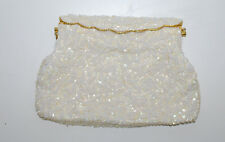 Hand Beaded Vintage Handbag Purse White Glass Beads Vivant Sarne Hong Kong