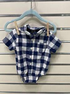 baby B'gosh Boys 3-6M Blue/ White Button Down Shirt Snap One Piece