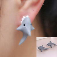 Women Handmade Polymer Clay Soft Cute Shark Earrings Animal Ear Stud Jewelry!