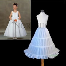 3 Hoop White Wedding Flower Girl dress Kids Crinoline Petticoat Underskirt Slips